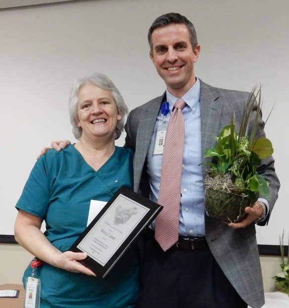 2015 Frist Award Winner (Employee)Patricia Larrow (left) with Chris Accashian, CEO